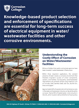Understanding the Costly Effect of Corrosion on Water/Wastewater facilities