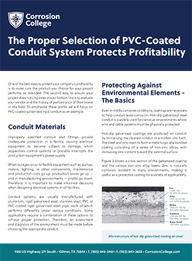 The Proper Selection of PVC-Coated Conduit System Protects Profitability