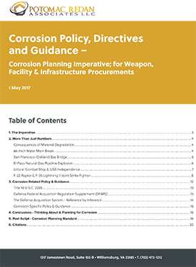 Corrosion Policy, Directives and Guidance – Corrosion Planning Imperative; for Weapon, Facility & Infrastructure Procurements